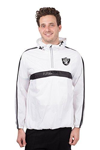 Ultra Game NFL Las Vegas Raiders Mens Quarter Zip Pullover Hoodie Packable Windbreaker Jacket, White, X-Large