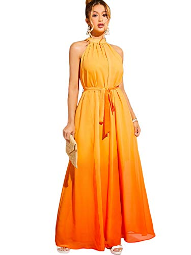Product Image of the Floerns Women's Summer Beach Halter Neck Tie Dye Maxi Dress Orange XS