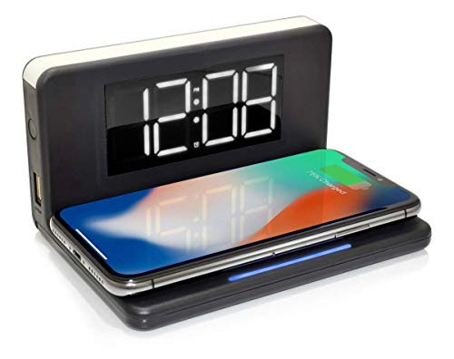 Westclox Wireless Charging Digital Alarm Clock with USD Port, Dimmable Night Light, and Large LED Display - Portable, Travel-Friendly Alarm Clock for Bedroom, Kids Room, Study Desk