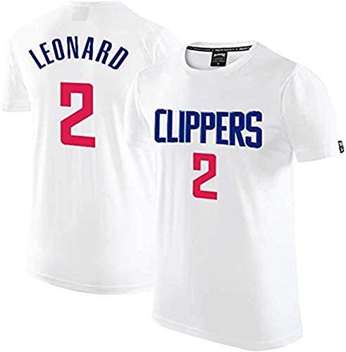 NBA Los hombres de Jersey, (4 estilos) Clippers Leonard # 2, versión retro de los de cuello redondo de manga corta de la camiseta adolescente Loose Short deportes Jersey 2019 2020 versión urbana,4,M