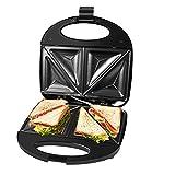 Gotoll Sandwichmaker 750W, Dreieckig Sandwiches Toaster Maker, antihaftbeschichtete Platten, Thermostatsteuerung und rutschfeste Füße, Schwarz