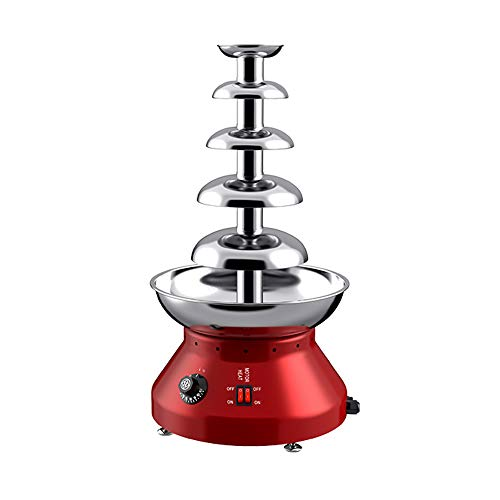 5-Tier Schokoladenfondue Brunnen Maschine 3L Edelstahl Handelsschokoladenbrunnen für Party Hochzeit Restaurant, 30 ℃ ~ 110 ℃ verstellbar, rot