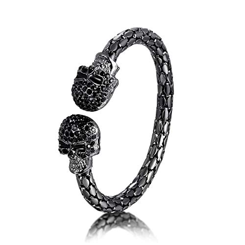 EVER FAITH Armband Halloween Party Schmuck Kristall Doppelschädel Skelett Verstellbares Armreif Schwarz