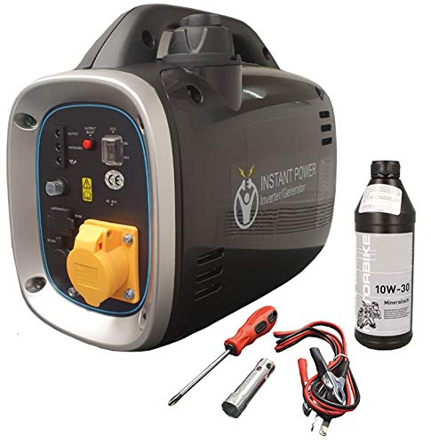 Instant Power Portable Suitcase Inverter Petrol Generator with 110v Plug for Power Tools - 4 Stroke 2.6HP 800W, Quiet 54dB, Pure Sine Wave – Includes 0.5L Bottle of 10W-30 Oil, Spark Plug Removal Tool
