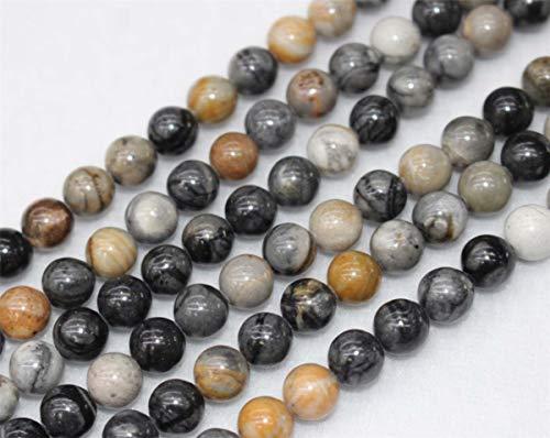 Perles rondes en jaspe Picasso naturel de 4 mm, 6 mm, 8 mm, 10 mm, 12 mm - Vente en gros - Perles en jaspe Picasso (6 mm, 62 pièces)