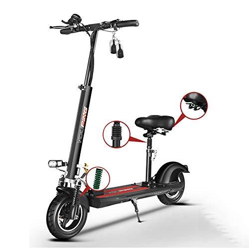 MSG ZY Elektrische scooter/elektrische fiets, vouwbare aluminium behuizing van luchtvaartaluminium, 48 V - 18 AH - 80 km - 18650 lithium batterij, voor volwassenen zwart