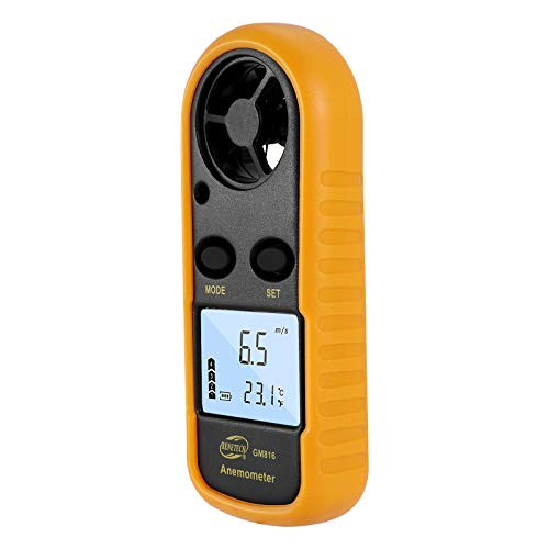 Topker Windmesser Digitaler Anemometer Windgeschwindigkeits Lehren Messinstrument LCD Airflow Windmesser Thermometer Ohne Batterie für Windsurfen Kite Flying Segeln Surfen Angeln