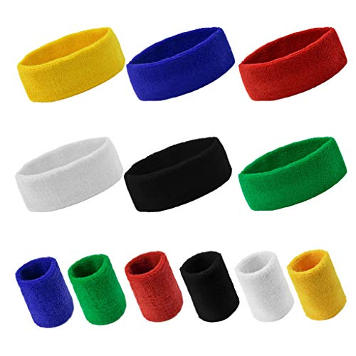 Yookat 12PCS Sports Wristbands for Men and Woman Sports Sweatband Elastic Non Slip Moisture Wicking Athletic Wristbands Headbands for Running Cycling Yoga Washing Basketball (Multicolour)