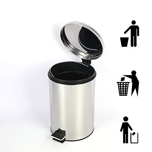 DelongKe Badkamer Bin– Badkamer Bins met Deksels – Kleine Pedaal Bin voor Badkamer, Toilet, Wastafel – RVS Rubbish Waste Bin met Verwijderbare Inner Bucket