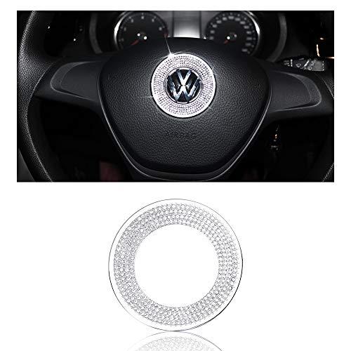BLINGOOSE für VW Zubehör Lenkrad Logo Aufkleber Volkswagen Arteon Tiguan Jetta Passat Golf Atlas Glitzer Auto Zubehör Innenraum Strasssteine Silber 1 STÜCK