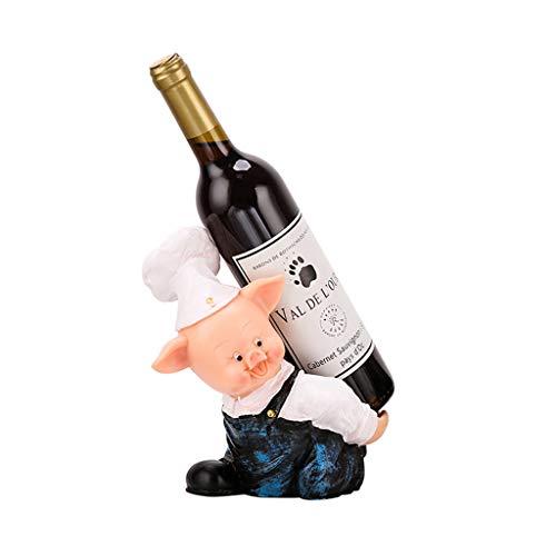 Portabottiglie Holder bottiglia di vino in Rustic Animal Sculpture & statua Vino Stand Crooked Hat Desktop Pig decorazione di arte resina ornamenti 8.2 pollici .Organizzatore del vino ( Color : A )