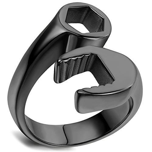 Flongo Gioielli Uomo anelli in acciaio inox, Aanelli originali chiave, design accattivante, Anelli...