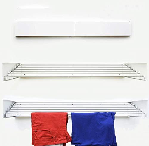 TOP NEEDZ - Tendedero plegable montado en la pared, para interiores y exteriores, retráctil, líneas para tender, capacidad de 38kg