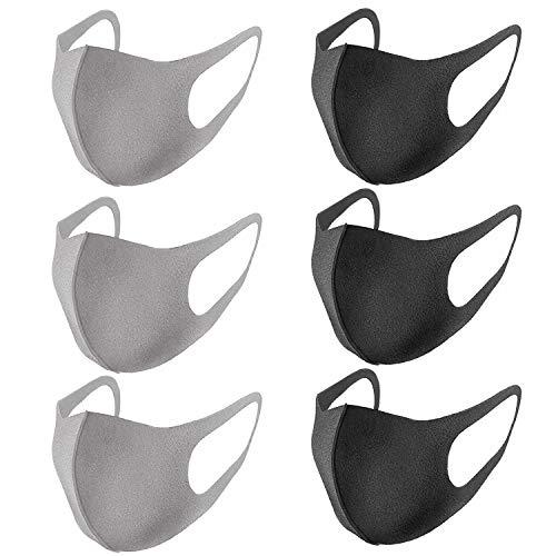 Masken Mundschutz , Kälteschutz Gesichtsmaske, Anti-Beschlag Anti-Staub Maske für Radfahren, Wiederverwendbar Waschbare Für Männlich Frau, Schwarz und Grau 6 Stück
