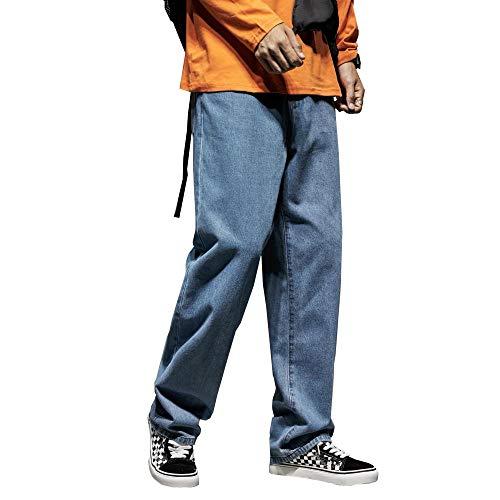YANGPP Herren Slim Lässige Jeans Lose Straight Cottom Solid Herren Freizeit Weite Jeans Grosse Herren Outside Hose, Blau, 33