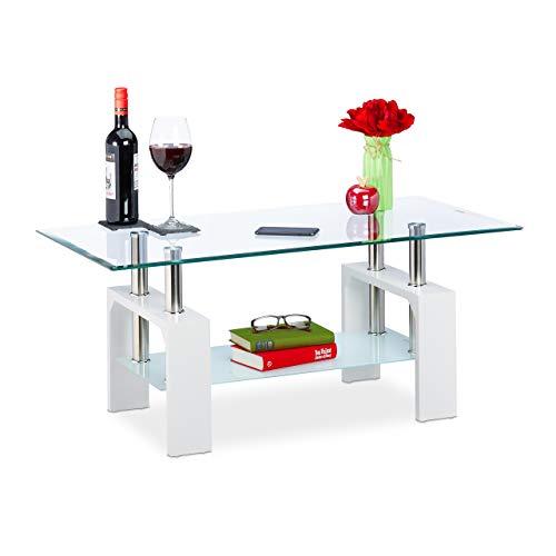 Relaxdays Couchtisch, 2 Glasebenen, mit Stauraum, Holzoptik, Wohnzimmer, eckig, Sofatisch, HBT: 43x99,5x49,5 cm, weiß