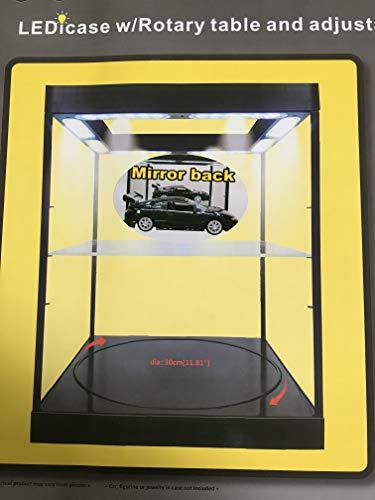 TT Große Sammler Vitrine LED beleuchtet, mit Drehteller, Acryl, schwarz