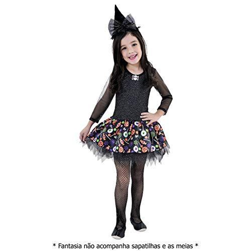 Fantasia Menina Halloween Bruxinha Bruxa + Chapéu (P)
