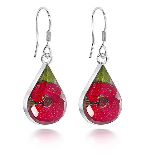 Sterling Silver Tear Drop Earrings Made With Real Poppies