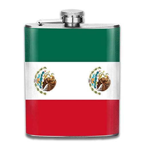 Flachmann für Likör, mexikanische Flagge, langlebiger Edelstahl-Flachmann mit U-förmigem Körper, 200 ml, rostfrei, auslaufsicher, für Reisen, Angeln, Picknick