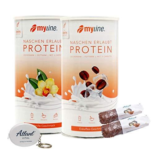 Myline Eiweiß Shake Proteinpulver 2er Pack 2x 400g + AV Maßband + 2 Proteinriegel (Eiskaffee-Vanille)