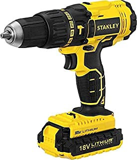 Stanley Cordless Hammer Drill, 18V, 45Nm, 2 Speed, Reversible, 2 x 1.5 Ah Li-Ion Batteries, with Kit Box, Yellow/Black - S...