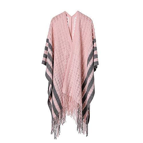 Modischer, kleiner, schwimmender Schal mit Blumenschlitz, Vier-Wege-Streifen-Design - Pink -