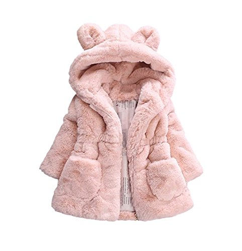 TAIYCYXGAN Baby Little Girls Winter Fleece Coat Kids Faux Fur Jacket with Hood Thicken Outwear Warm Overcoat Pink 130