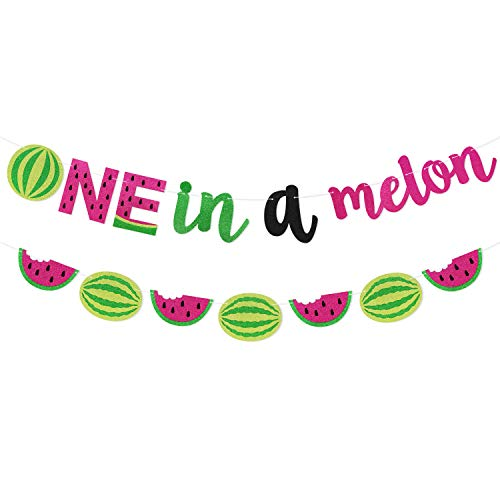 One in a Melon Banner Watermelon 1st Birthday Party Supplies Hot Pink Green Glitter Watermelon Themed Garland Decor Set Summer Fruit Cake Smash Decorations…