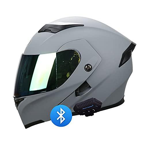 BDTOT Motorcycle Modular Helmet Bluetooth Full Face Motorcycle Helmet DOT/ECE Approved Lightweight Anti-Fog Dual Visor for Automatic Answering Helmet Chopper Cruiser Racing Helmet