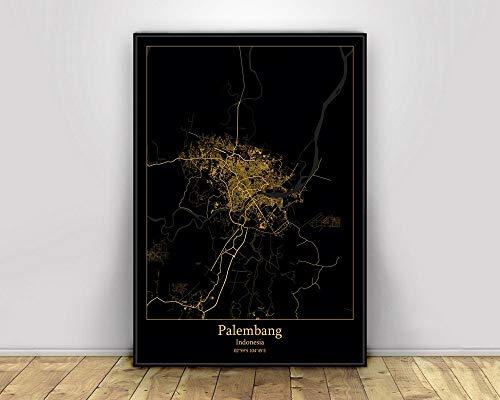 Prints Canvas, Palembang Indonesia Black&Gold City Light Maps Custom World City Map Poster Canvas Prints Nordic Style Wall Art Home Decor,40 * 60cm