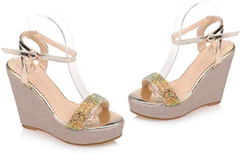 Women's Comfort shoes PU(Polyurethane) Summer Sandals Wedge Heel gold White Purple,C,US7.5 EU38 UK5.5 CN38