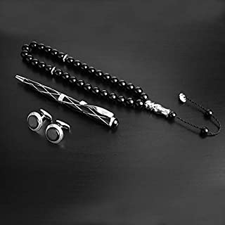 PEN & CUFFLINK AND MISBAH FOR MEN BLACK SILVER