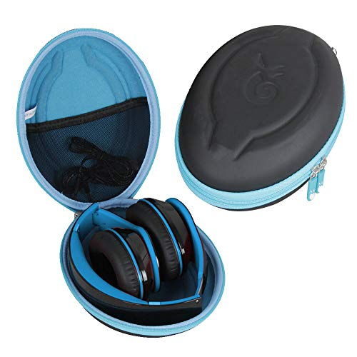Hetmitshell Hard EVA Travel Case Fits Mpow 059 Bluetooth Headphones Over Ear Hi-Fi Stereo Wireless Headset Foldable Soft Memory-Protein Earmuffs (Black Case + Blue Zipper)