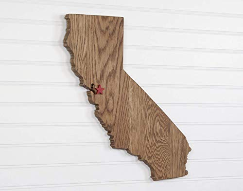 California State Shape Wood Cutout Sign Custom Handcrafted Wall Art. 2 Sizes - 7 Stain Colors – Choice of Heart or Star