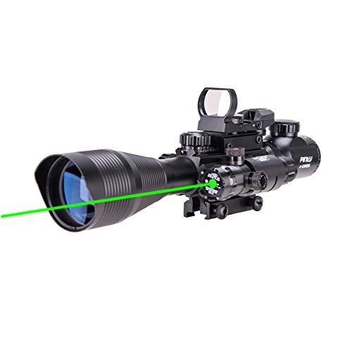Pinty Rifle Scope 4-12x50 Rangefinder Illuminated Optics with 4 Reticle Red Green Reflex Sight, Green Dot Laser Sight