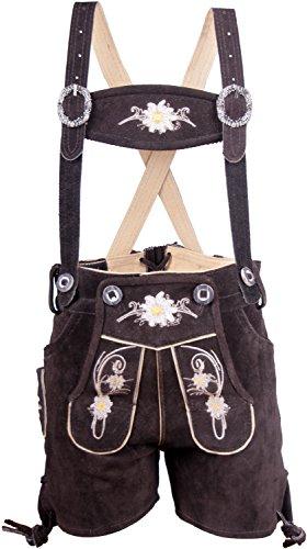 Almwerk Kinder Trachten Lederhose kurz in braun, Hellbraun, schwarz und rot, Kindergrößen:170;Farbe:Braun