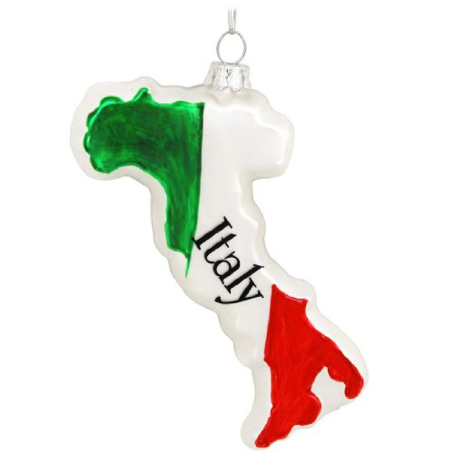 Bronners.com Italy Glass Ornament Italian Christmas Tree Hanging Green White Red Country Gift
