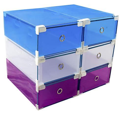 6 Cajas almacenaje apilables y reforzadas para Zapatos +10% PVC Transparente, utilizables como estantes o zapateros MY Box TO Store en Tres Colores Diferentes para Mayor Variedad