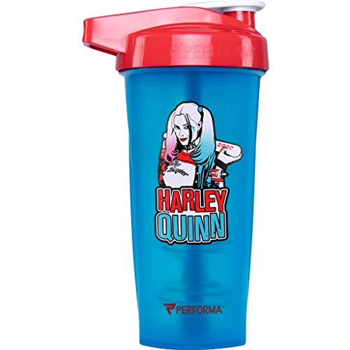 Performa Justice League & DC Comic - Leak Free Protein Shaker Bottle with Actionrod Mixing Technology for All Your Protein Needs! Shatter Resistant & Dishwasher Safe (Harley Quinn Blue)(28oz)