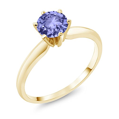 Gem Stone King 14K Yellow Gold Blue Tanzanite Engagement Solitaire Ring 0.90 Ctw Gemstone Birthstone (Size 7)