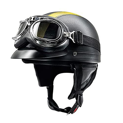 WQWY ECE Homologado Retro Casco Moto Jet De Cuero con Gafas para Hombres y Mujeres, Ligero Y Cómodo Cascos De Motocicleta Medio Casco E,54-62CM