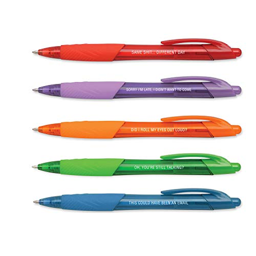 Snarky Office Pens/Set of 5 Funny Pens - Vibrant Color With Funny White Imprint/Brightly Colored Pen Ink Matches Barrel