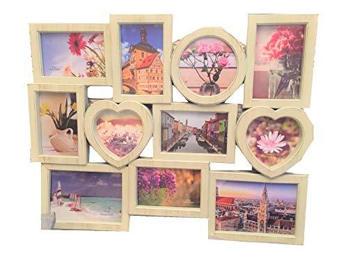 Lalia Fotorahmen Collage 11 Fotos, Herzform, XXL 50x60 cm, Liebsten/die Liebste, zur Hochzeit, zum Geburtstag, weiß, Kunststoff, romantisch 11 Fotos zu je 10x15cm (D1)