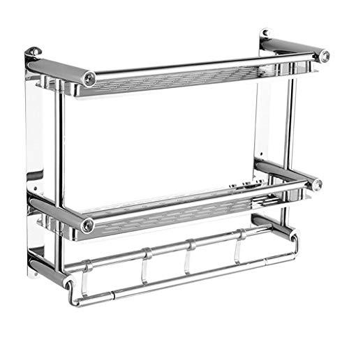 ZYING Cuarto Período de Vidrio Templado Plataforma de baño con la Toalla Pared de la Barra de Almacenamiento montado Ducha, Acabado Cepillado de Plata (Size : 40CM)