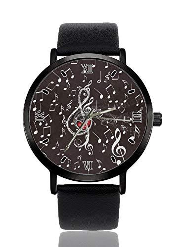 Nota musical Amor corazón de las mujeres de moda personalizada imitación cuarzo reloj de pulsera correa negra hombres y mujeres relojes de pulsera