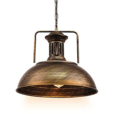 Pendant Lighting Industrial Nautical Barn with Rustic Dome Bowl Shape Mounted Fixture Ceiling Lamp Chandelier (Bronze, 1 Light)