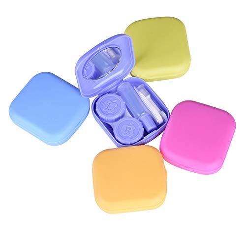 DaoRier Un Conjunto Color Random Delivery Almacenaje del Recorrido Kit De Soporte Estuche para Lentes De Contacto Pinzas y Soporte de Bastón Juego Portátil Kits Caja para Lentillas