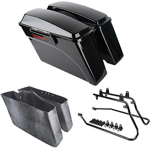 XMT-MOTO Hard Saddlebags kit w/Black Saddlebag Support Bracket fits for Harley davidson Softail Models 1986-2013