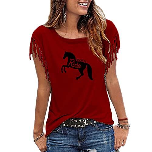 YUHUA-SHOP1983 Camiseta Nacido para Montar a Caballo Carta Mujer Tshirt Summer Funny tee Shirt Tops Casual Mujeres Bluas (Color : 12, Size : XXL)